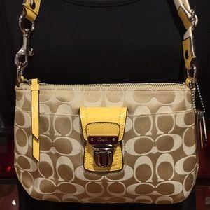 Coach Cream & Yellow Small Shoulder Bag